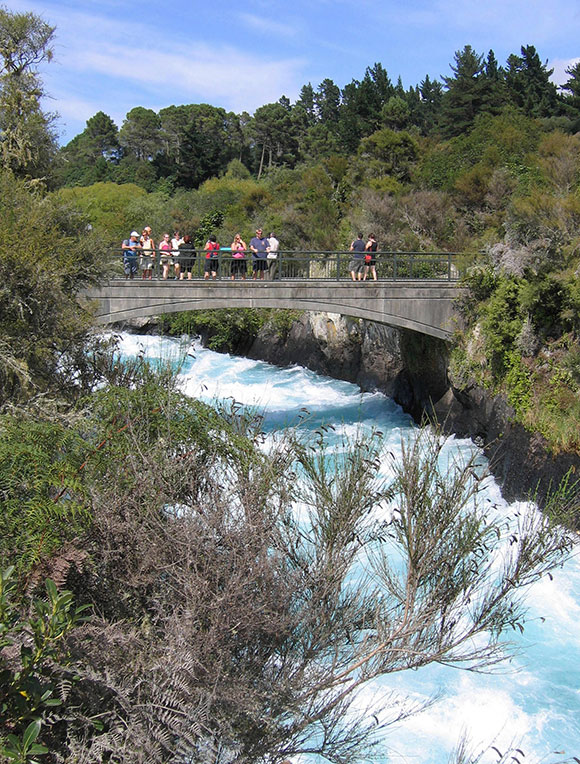 Watch the Huka Falls from the pedestrian bridge